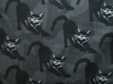 CATS METALLIC WHISKERS CAT INLAY BLACK SILVER COTTON FABRIC FQ