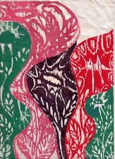FLOWER FANTASY by RUTH  FREEMAN WOODCUT  9  1/4  X 12 1/4