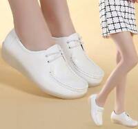 Genuine Leather Women Wedge White Shoes lace up Casual nurse shoes Zsell