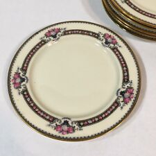 """Set of 6 Black Knight China Belasco Bread & Butter Plate 6-1/8"""" Floral Gold Rim"""