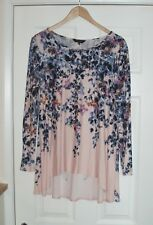 "GREAT ""PHASE EIGHT"" NUDE BLUE MULTI FLORAL STRETCH JERSEY TUNIC TOP UK 16"