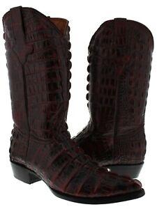 Mens Black Cherry Full Crocodile Tail Pattern Western Cowboy Boots J Toe
