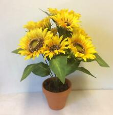 New 16 inch Tall large Potted Sunflower Bush Artificial Silk Flowers Plant