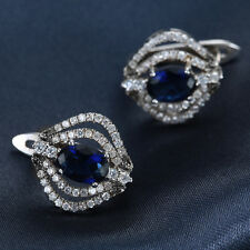 Women New Fashion 925 Silver Jewelry Sapphire Studs Dangle Earring Gift
