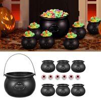 1X Halloween 8'' Black Witch Cauldron, 6X 3'' Witch Cauldron, 6X Eyeballs Decor