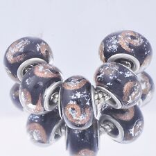 5Pcs Silvery Color Lampwork Murano Glass Charm Bead Loose European Bracelet