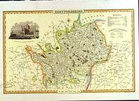 Old Antique Print C2000 Map England County Hertfordshire St.Alban'S Abbey