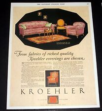 1928 OLD MAGAZINE PRINT AD, KROEHLER LIVING ROOM SUITE, RICHEST QUALITY FABRICS!