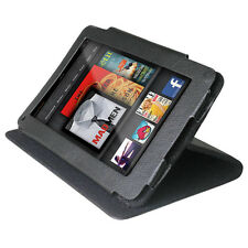 Black Leather Flip Case w Stand for Amazon Kindle Fire