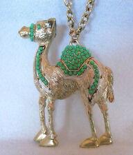 """Unique 22"""" gold tone metal necklace large camel pendant green cabochon stones"""