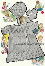 Baby 1940s Dress Layette Coat Bonnet Bootee KNITTING PATTERN 3 Ply COPY