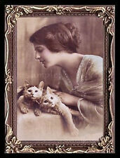 Lady n Cats  Miniature Dollhouse Doll House Picture