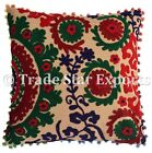 "Ethnic Square Suzani Cushion Cover 16X16"" Indian Vintage Embroidery Pillow Cases"