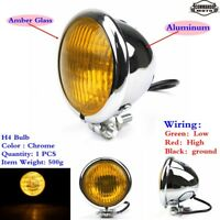 H4 Bulb Motorcycle Headlight Head Lamp Amber Glass Lens For Harley Davidson New