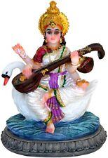 Goddess SARASWATI Sarasvati LOTUS Flower Swan STATUE Figurine Hindu Puja INDIA
