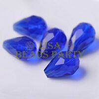 New 10pcs 18X12mm Big Teardrop Faceted Spacer Loose Glass Beads Blue