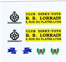 decals pour Dinky: Citroën 2CV fourgon: B.B. Lorrain - PTT - pompiers