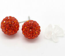 Red Rhinestone Pave Earrings with Rubber Studs Jewelry Christmas Gift Discount