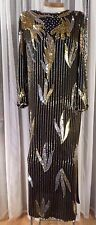 Vintage XL Black Gold 100% Silk Long Formal Dress Lady Woman Beads Sequin 14 16