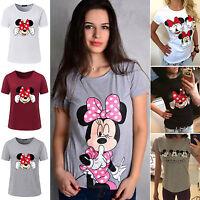 Women's Cartoon Mickey Minnie Mouse Short Sleeve T-Shirts Loose Casual Tee Tops