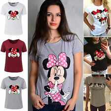 Women's Cartoon Mickey Minnie Mouse Short Sleeve T-Shirts Loose Casual Tee Tops