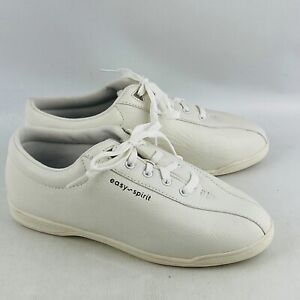 Womens 8.5WW Easy Spirit AP1 Walking Shoes White Leather Lace Up Lightweight