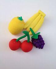 4 pcs Fruit Rubber Erasers Banana Cherry Grape Lemon School Kids Children Eraser