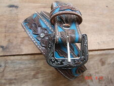 WESTERN STYLE GENUINE LEATHER HAND CARVED BELT WITH CARVED BUCKLE FOR  LADIES