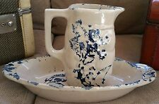 "Vintage Mid Century Ceramic Pottery Pitcher with Platter ""Fishing Under Tree"""