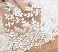 350mm Wide Embroidered White Tulle Floral Lace Trim Bridal Wedding Veil Fabric