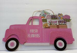 FRESH FLOWERS Pink TRUCK Door Hanger Glitter Wood Sign Spring Garden Motif NEW