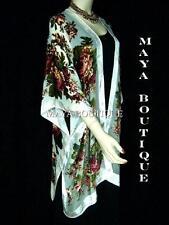 Caftan Kimono Duster Silk Burnout Velvet White Multi Gypsy Rose Maya Matazaro
