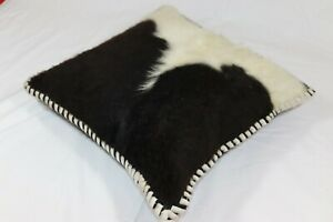 """Brand New 18x18"""" (45cm) Real Cow Hide and Leather Cushion Black"""