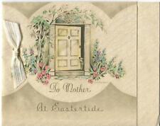 VINTAGE HOUSE DOOR WAY WINDOW GARDEN FLOWERS EASTER MOTHER GREETING CARD PRINT