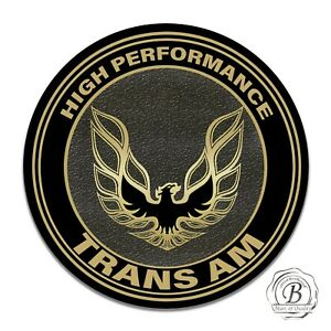 Pontiac Trans Am Black and Gold Hood Bird Eagle Design Circle Aluminum Sign
