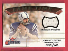 JOHNNY UNITAS  2001 FLEER GAME TIME GAME USED JERSEY CARD #d33/100 COLTS