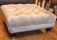 Quality Large Deep Buttoned Footstool Laura Ashley Caitlyn Sable Fabric