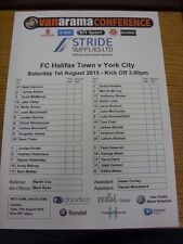 01/08/2015 Colour Teamsheet: FC Halifax Town v York City [Friendly] (folded). Bo
