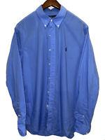 Men's Polo Ralph Lauren Shirt Regular Fit Long Sleeve Stretch Large Blue
