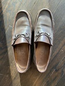 Authentic Gucci Leather Brown And Silver Size 10 Men's Shoe