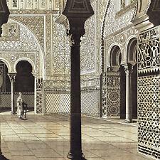 Alhambra Cortile Alcasar Spagna Siviglia Incisione Acquaforte