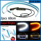 2x 60CM LED DRL Light Amber Sequential Flexible Turn Signal Strip for Headlight