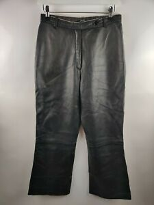 ZAPA Vintage Women's Real Leather Trousers Bootleg High Waist Blogger W27 10