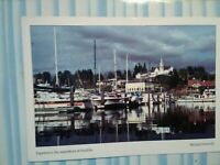 VINTAGE PHOTO POST CARD  AERIAL VIEW OVER  THE POULSBO WATERFRONT  POULSBO WA