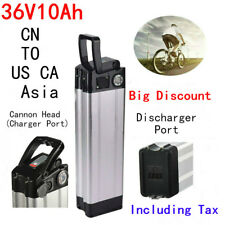 36V 10Ah 350W Cannon Head Li-ion E-bike Battery for Electric Bicycle Silver Fish
