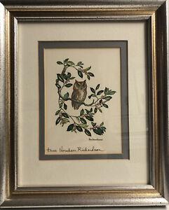 1988 Signed Framed Anne Worsham Richardson Print  Owl Holly Bush Branch