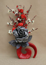 ARTIFICIAL SILK BLACK GLITTER ROSE - MIXED FLOWERS IN RED FOSSIL CERAMIC VASE