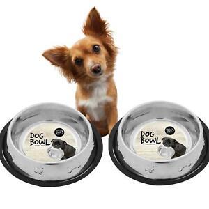 Set of 2 Pet Bowl Food Water Dog Cat Feeder Small 400ml Metal Bones and Paws