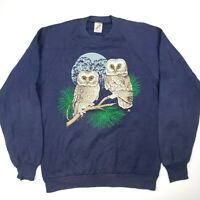 Vintage Sweatshirt 90's Jerzees Owls Nature Blue MADE IN USA Large