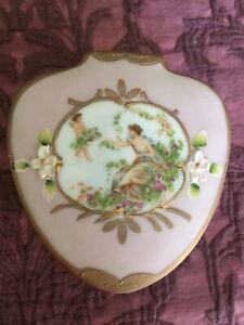 vintage Japan Lenwile Ardalt floral painted pink & gold gilt porcelain box 6636J